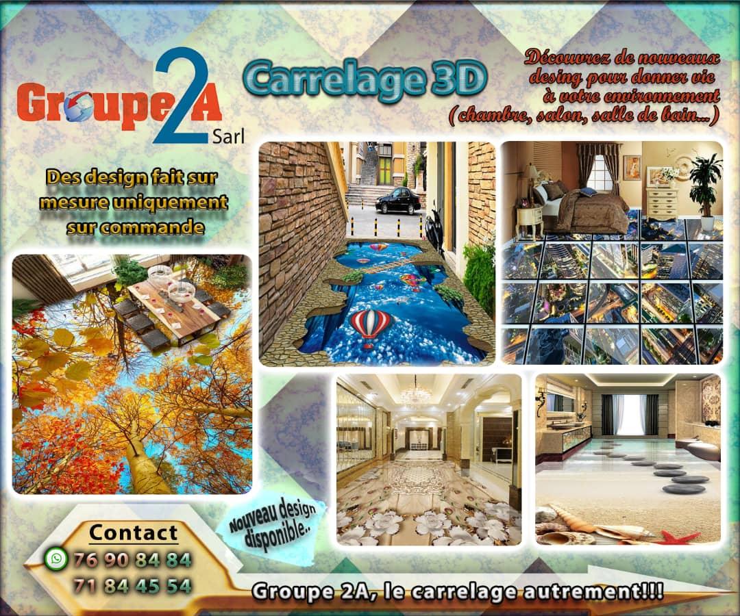 Carrelage 3D appliqué sur sol et mur avec Groupe2A a bon prix au m²