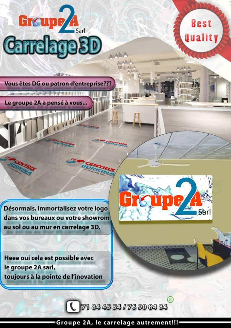 Carrelage de vos logos appliqué sur sol et mur avec Groupe2A a bon prix au m²